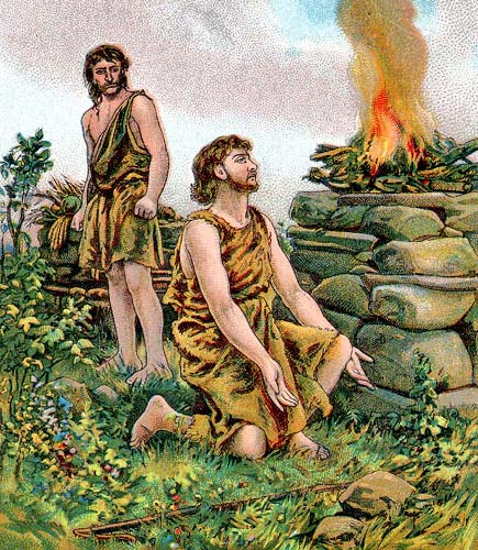 cain standing and able kneeling at a burning altar
