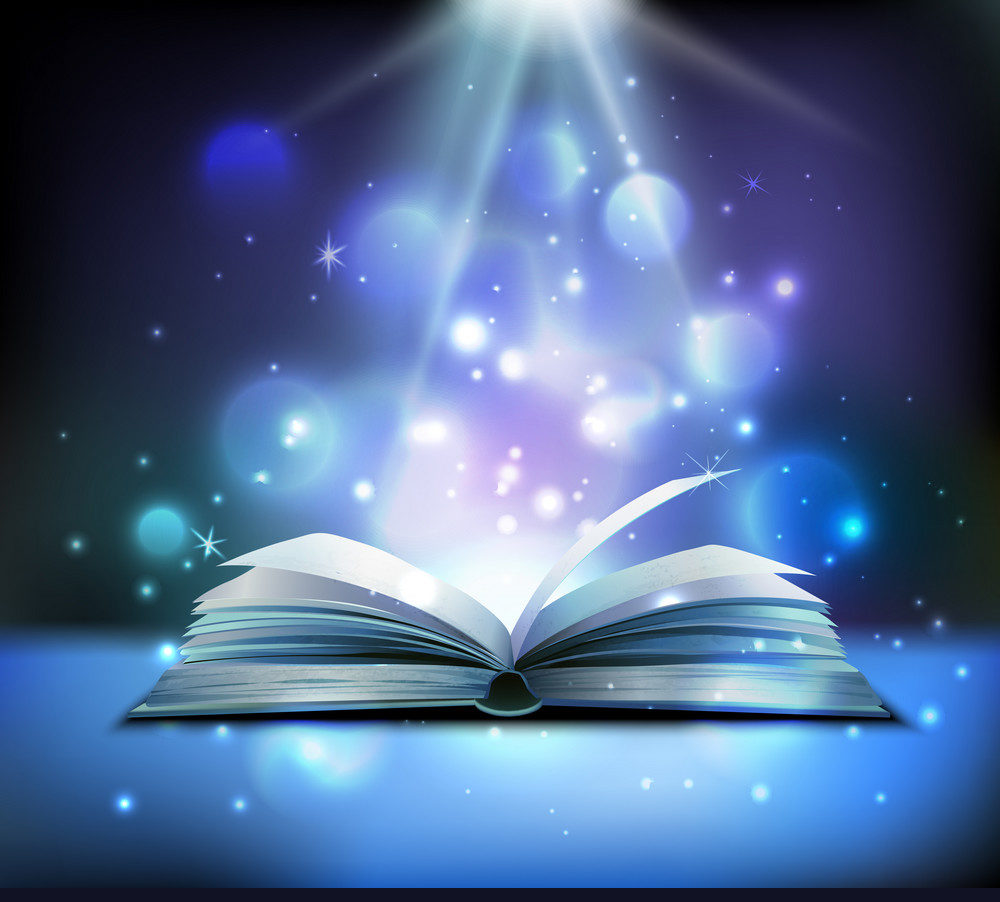 Book with sparkles above it to appear as magic